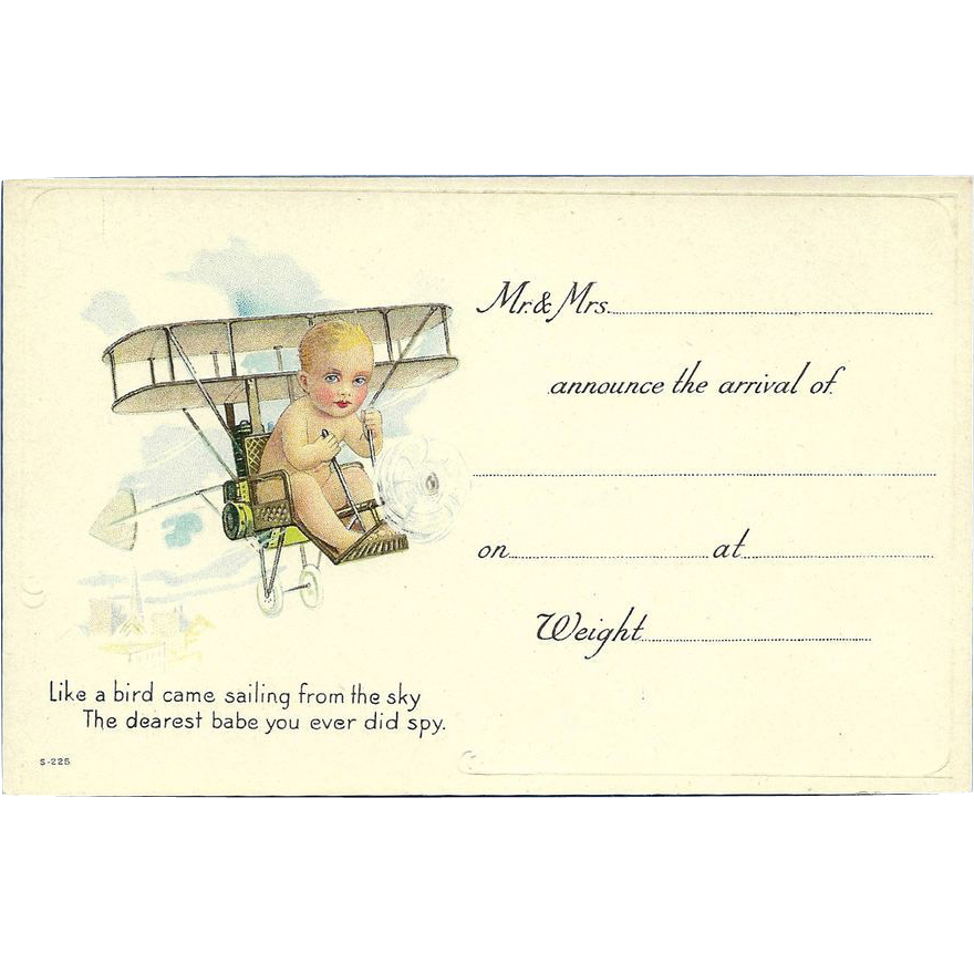 Embossed Vintage Baby Announcement Postcard Baby in Airplane – Vintage Baby Announcements