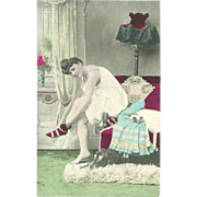 Vintage Risque Tinted Postcard of Lady in Bedroom