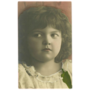 Vintage Real Photo Tinted Postcard of  Young Girl