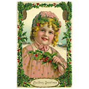 Lovely Vintage German Christmas Postcard of Young Girl with Holly