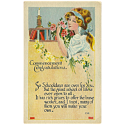 Vintage Graduation Postcard with Young Lady - Early 1900s