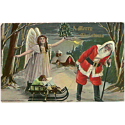 Merry Christmas 1911 Postcard of Santa with Angel and Sleigh - Red Tag Sale Item