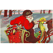 Vintage Embossed Christmas Postcard -Santa in Sleigh - Red Tag Sale Item