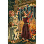 Undivided 1906 Embossed Glitter Christmas Postcard - Children with Stockings
