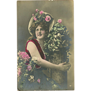 Vintage Tinted Postcard of Lovely Lady with Flowers