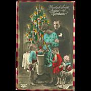 Vintage Polish Tinted Christmas Postcard with Family and Toys