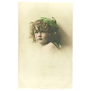 Vintage Tinted Photo Postcard of Blonde Girl with Green Hat 1913