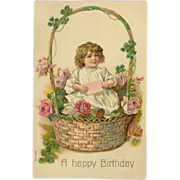 Vintage Embossed Happy Birthday Postcard - Young Girl in Basket of Flowers