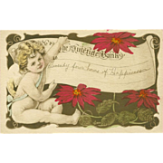 Vintage 1910 Gibson Postcard of Cherub with Check from Yuletide Bank