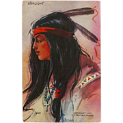 Native American Indian Maiden Starlight Embossed Postcard 1908