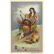 Vintage 1911 Embossed Thanksgiving Postcard with Native American Indian Maiden