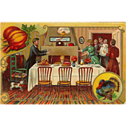 Embossed 1908 Postcard of Thanksgiving Family Dinner