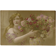 French Real Photo Tinted Postcard of Lady with Vase of Flowers