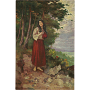 Artist Signed Vintage Postcard of Mignon