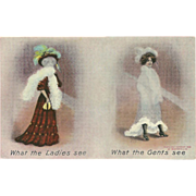 Bamforth British Postcard of What Ladies See and What Gents See