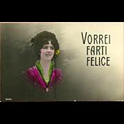 Fotocelere Tinted Italian Postcard of Dark Haired Lady