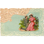 Embossed German Romantic Postcard Resembling Lace