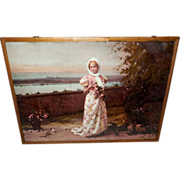 Ullman 1900 Flue Cover or Hanging Photo Print of Lady Near Water