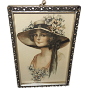 J. Knowles Hare Small Vintage Print of Lady with Big Hat - Red Tag Sale Item