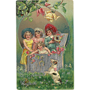 Embossed 1909 Vintage German Postcard with Children and Dog - Red Tag Sale Item