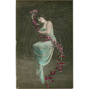 Vintage Italian Tinted Photo Postcard Lady Caught in Spider Web