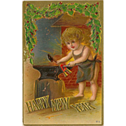 Embossed Happy New Year Postcard with Child and Anvil