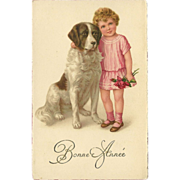 Vintage French New Year Postcard with Girl and St. Bernard Dog