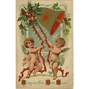 Embossed 1909 New Year Postcard of Cherubs Ringing Bell