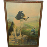 R. Atkinson Fox Vintage Print of On Guard - Collie Guarding Sheep