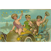 Happy New Year Embossed Postcard with Three Cherubs in Old Car