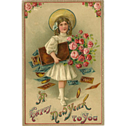 Embossed German New Year Postcard - Girl with Money and Flowers