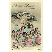 French Tinted New Year Photo Postcard with Babies
