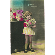 French Tinted Photo New Year Postcard of Girl with Flowers