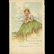 Charles Twelvetrees Lonesome Boy Postcard - Edward Gross NY - 2 of 2