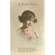 Vintage Tinted Photo Birthday Postcard of Young Girl with Pink Flowers - 1 of 2