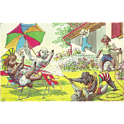 Alfred Mainzer Dressed Dogs Postcard - Playing in the Yard - Red Tag Sale Item