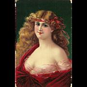Buxom Blonde Vintage Postcard 1909