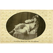 Embossed Photo Postcard of Reclining Woman with Cigarette