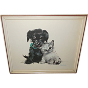 Puppy and Kitten Vintage Print by Janusz Grabianski - Red Tag Sale Item