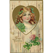 Vintage 1907 Valentine Postcard with Young Girl - Red Tag Sale Item