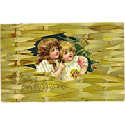 Undivided Embossed Valentine Postcard with Two Young Girls