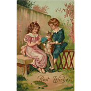 Embossed German Postcard of Girl and Boy with Cat
