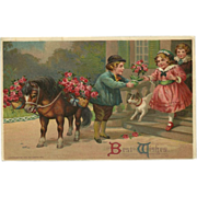Embossed 1911 Chromo Postcard of Children with Dog and Horse