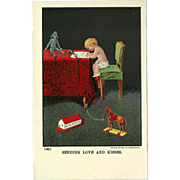 Undivided 1905 Ullman Postcard of Young Boy Writing Letter