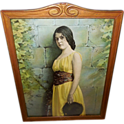 Vintage Framed Print of Lovely Gypsy Girl with Tambourine