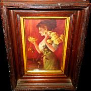 Zula Kenyon Chrysanthemums Print in Deep Wood Frame - Red Tag Sale Item
