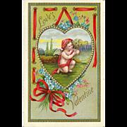Embossed 1909 Valentine Postcard - Cherub inside Heart