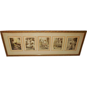 Gutmann and Grimball Five Small Signed Prints in Wood Frame