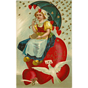 Embossed 1909 Valentine Postcard with Dutch Girl on Heart