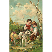 Embossed PFB Easter Postcard of Two Children with Lamb